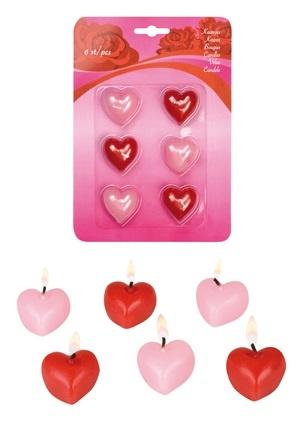 Kerzen  in Herzform - 6 Kerzen auf Karte ca 14x20cm