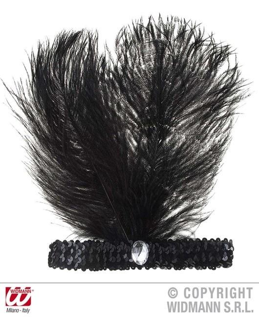 Stirnband mit Pailetten, 2 Federn + Edelstein, Einheitsgröße