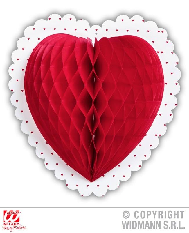 Wabenball rotes Herz ca  Ø 25 cm