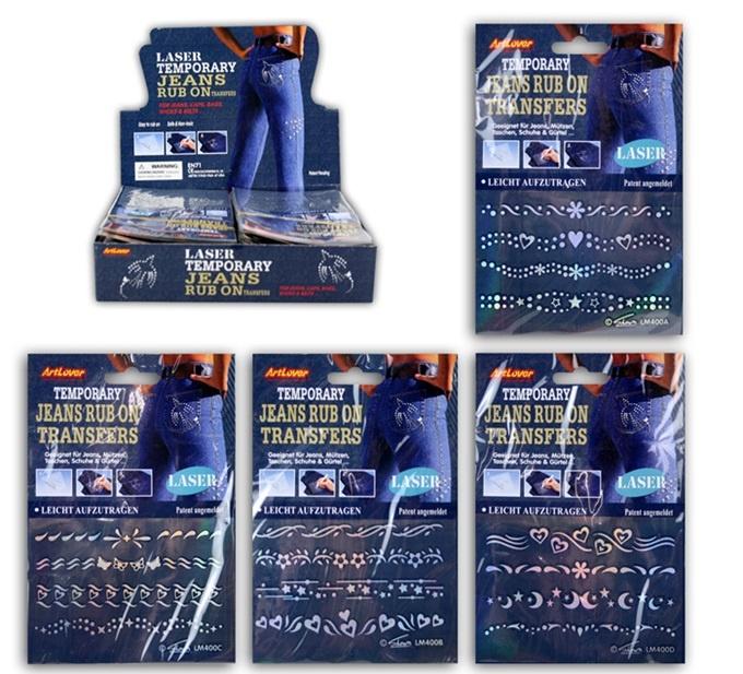 Rubbelbilder für Jeans 4-fach sortiert ca 17 x 11,5 cm