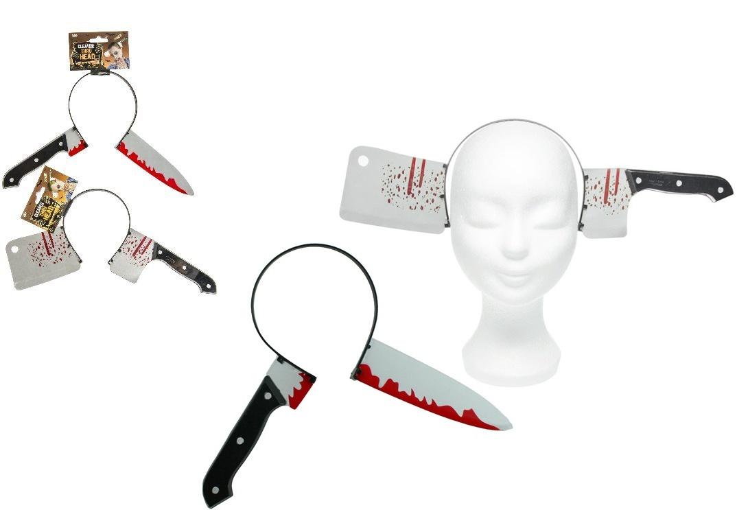 Kopfbügel Beil und Messer durch Kopf sortiert