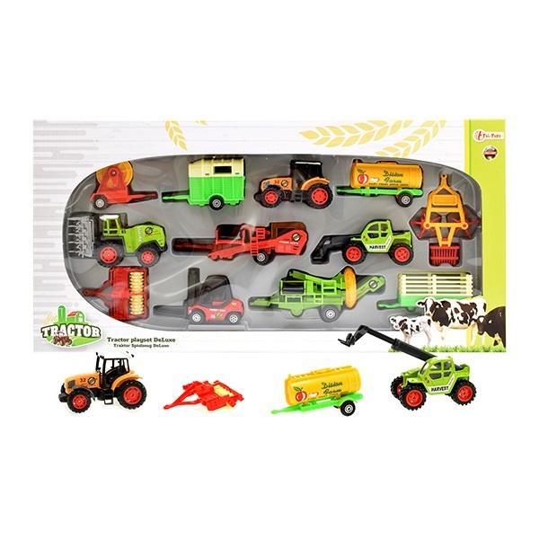 Traktor Spielset Deluxe METALL in Box ca 45,5x23x5,5cm