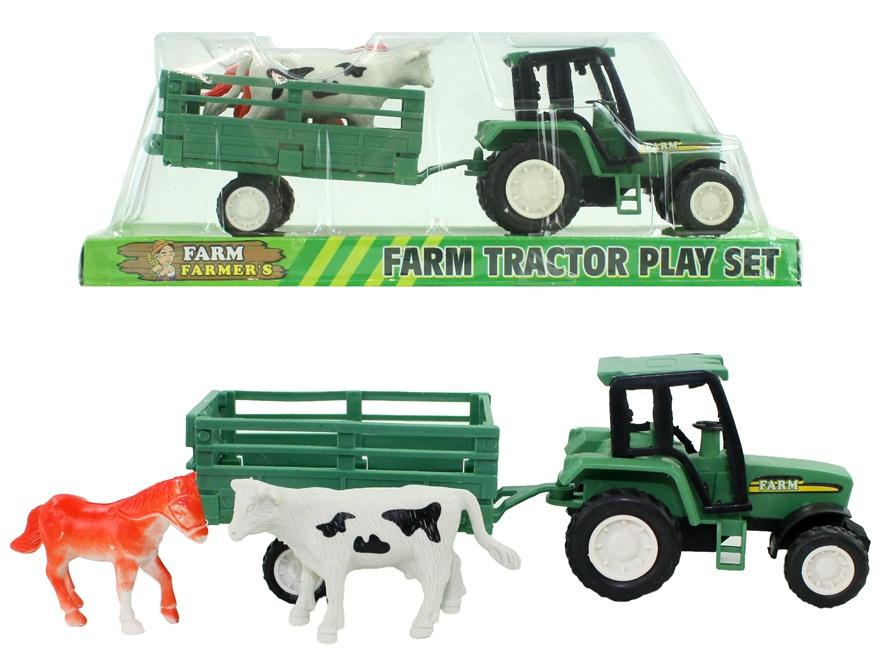 Traktor mit Anhänger und 2 Tieren in Box ca 16 cm