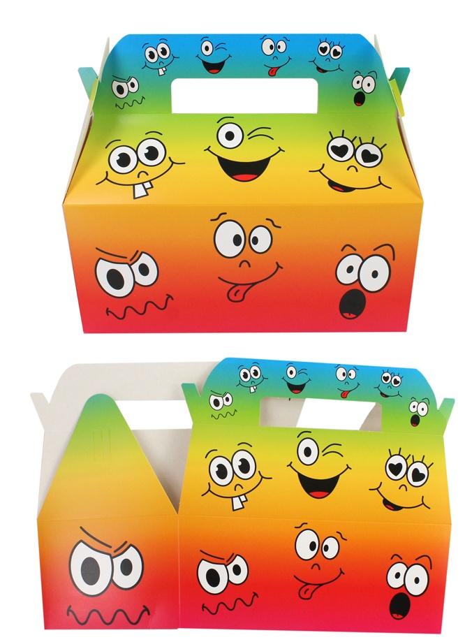 Geschenkbox Menübox Gesichter Smilies ca 23,5x12,5x20cm