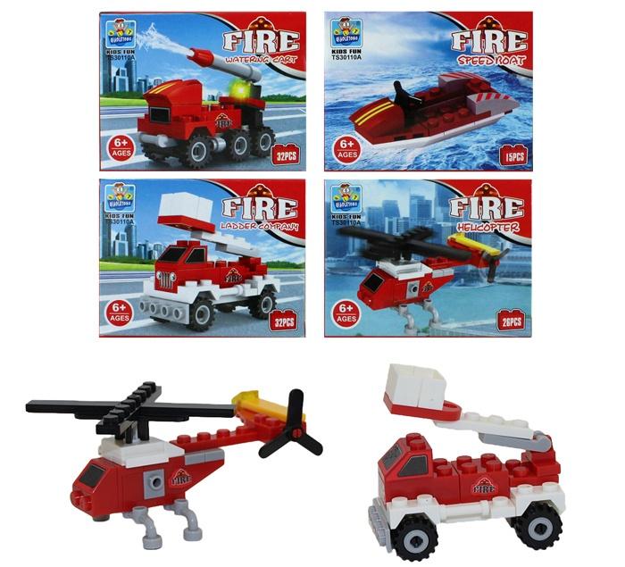 Bausteine Feuerwehr 4 fach sortiert in Box ca 9x7x4,5cm