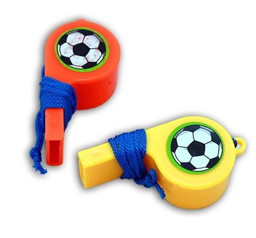 Trillerpfeife- Fußball a Band  2-fach sortiert - ca 5 cm