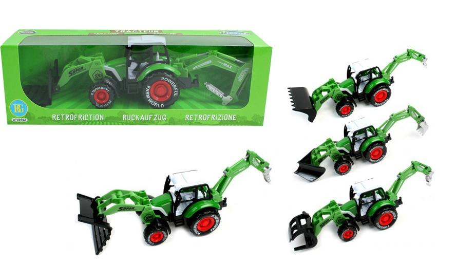 Traktor Metall mit Rückzug ca 33 cm