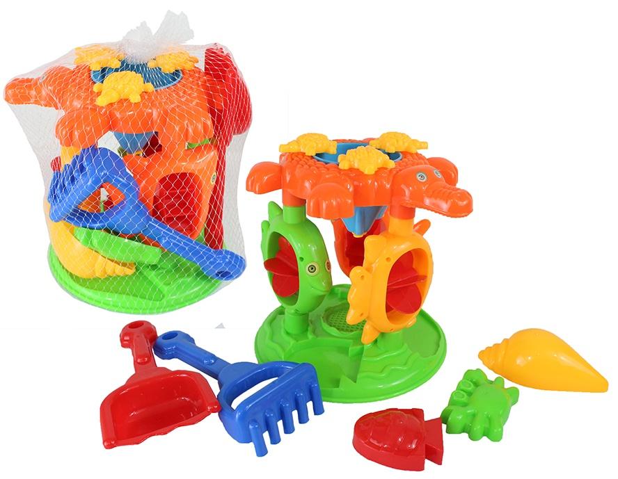 Bieco Sandspielzeug-Set mit Sandmühle und Zubehör 6tlg