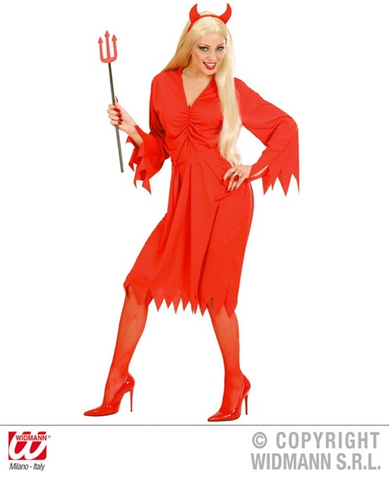 Kostüm Teufelin (Kleid, Gürtel und Hörner) Größe M