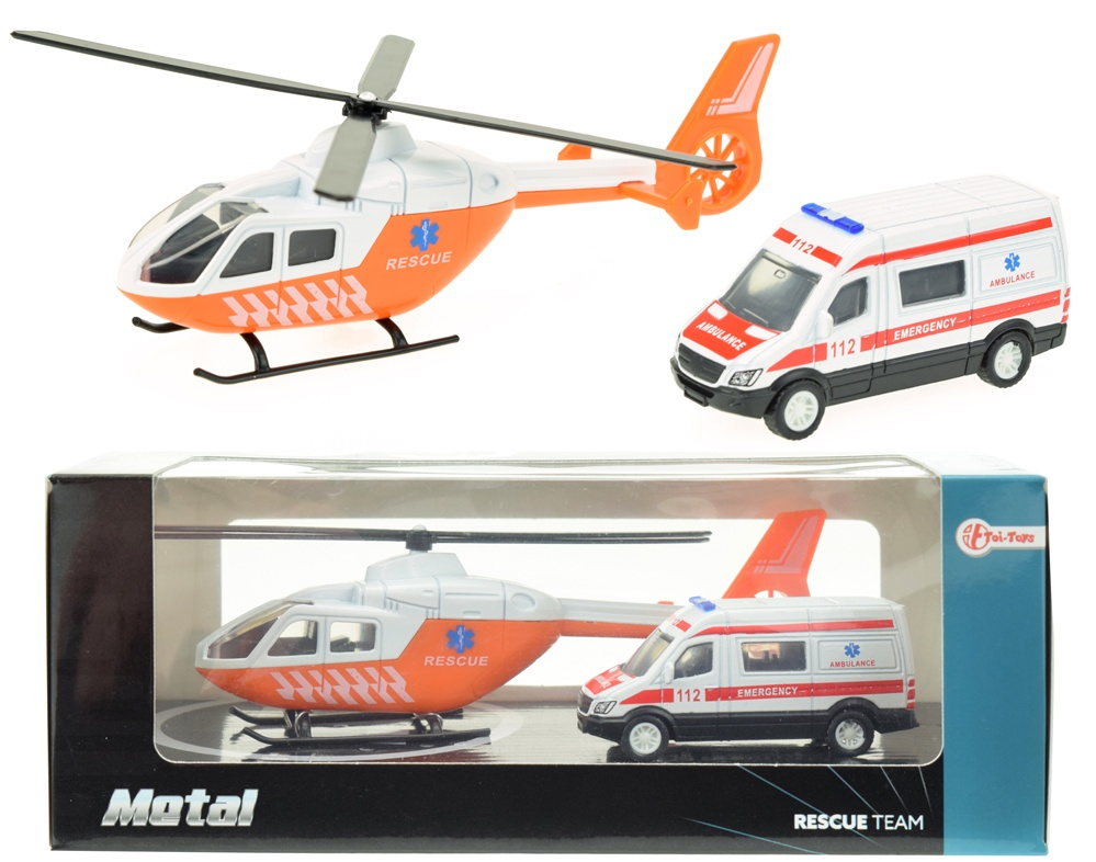Rettungshubschrauber mit Krankenwagen, Druckguss