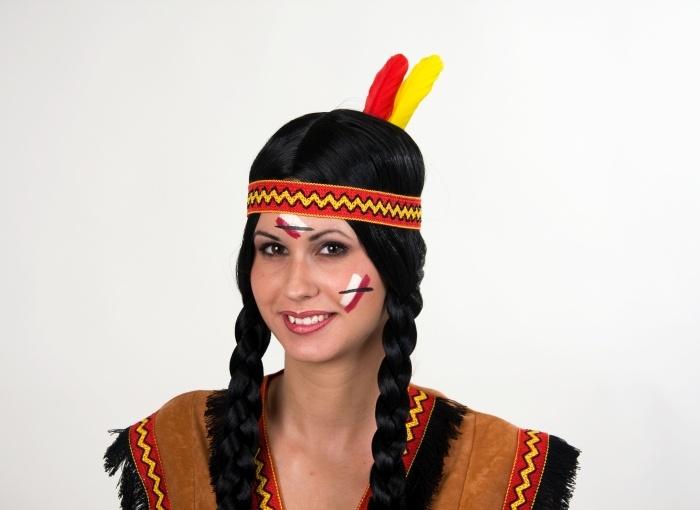 Indianer-Stirnband mit Federn, elastisch