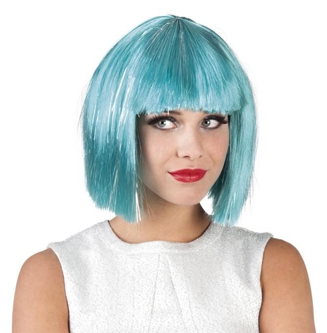 Perücke - Gigi glamour türkis mit silber Lametta Strähnen