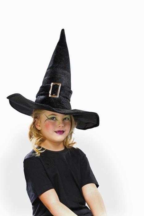 Kinder-Hexenhut aus Samt, schwarz
