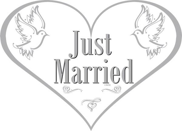 Türschild - Just Married - ca 48x35 cm