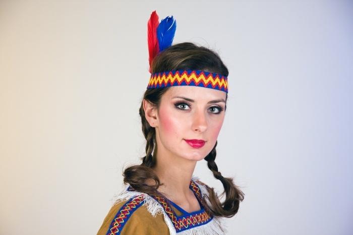 Indianer-Stirnband mit Federn, elastisch, sortiert