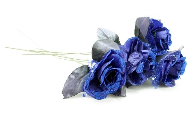 Rose offen blau mit Glitzer und Tüll ca 35 cm
