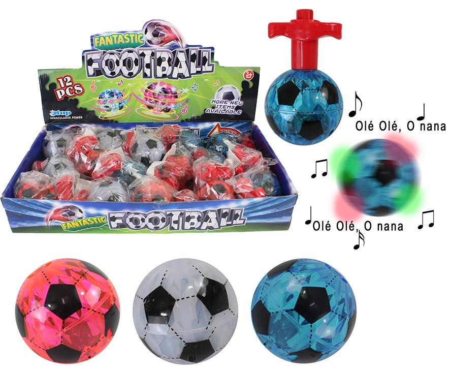 Fußball Kreisel 3 farbig sortiert mit Licht und Sound ca 7cm