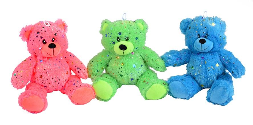 Bär Glitzerplüsch Neonfarben 3-farbig sortiert ca 30 cm