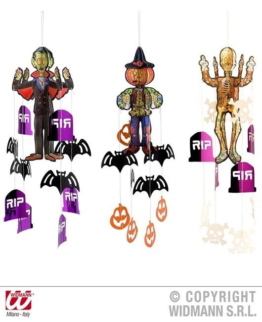 Halloween Figur mit hängenden Dekorationen sort. in 3