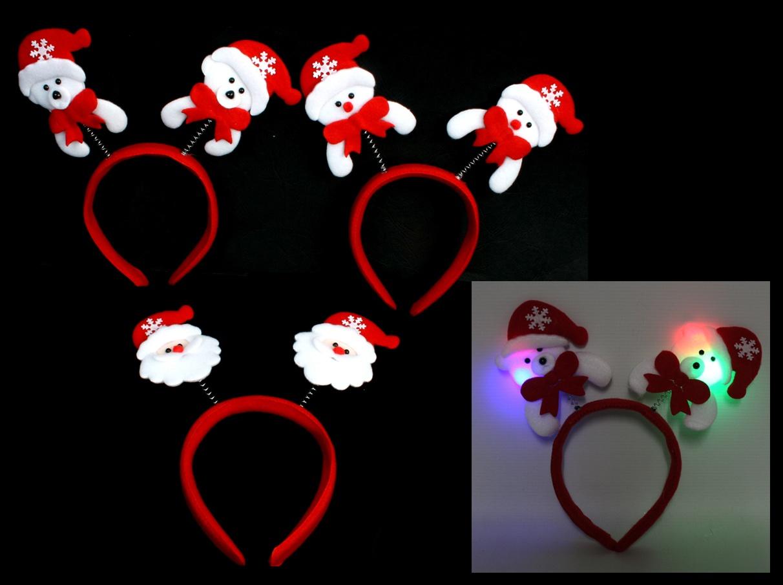 Haarreif Weihnachtshaarreif 3-fach sortiert leuchtend