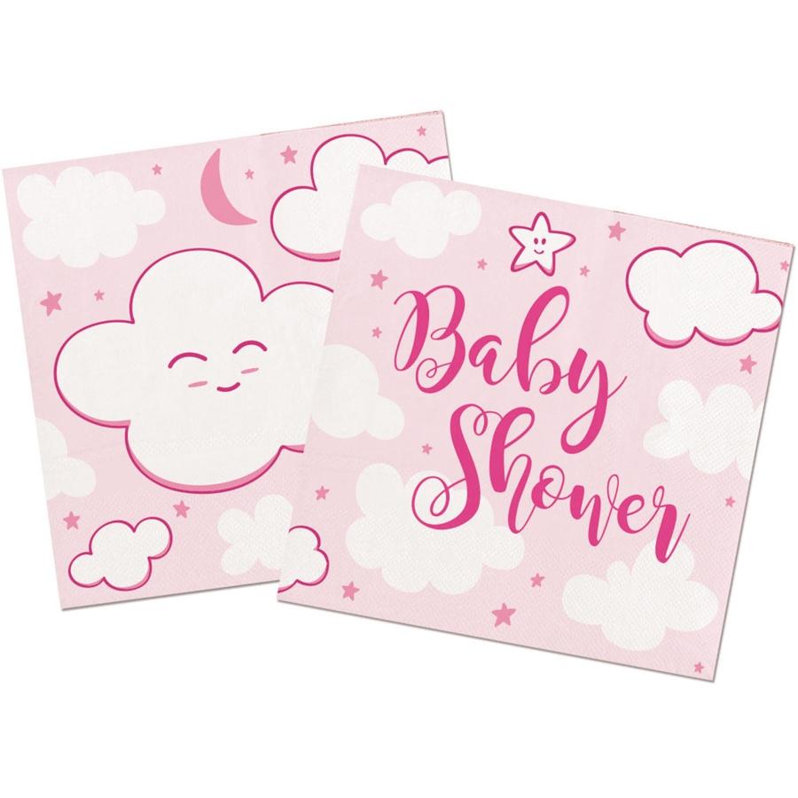Serviette Baby Shower rosa ca 25x25 cm/20 Stück im Pack