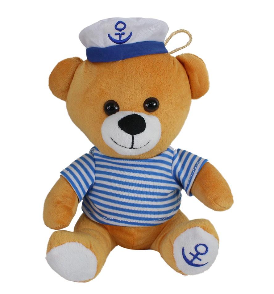 Seebär Kuddel mit Ringelshirt und Kapitänsmütze ca 25 cm
