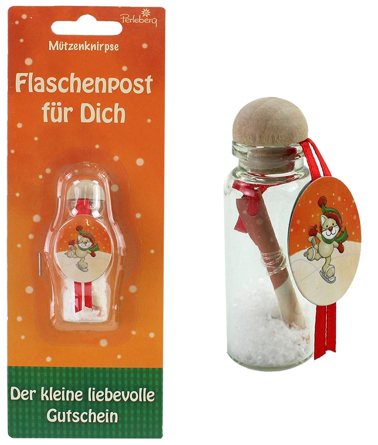 Perleberg Weihnachts Flaschenpost  ca 7cm