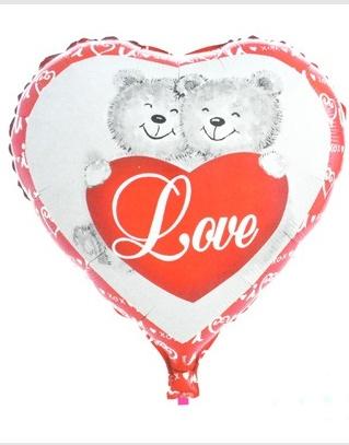 Luftballon Folienballon Herz Bären ca 45cm