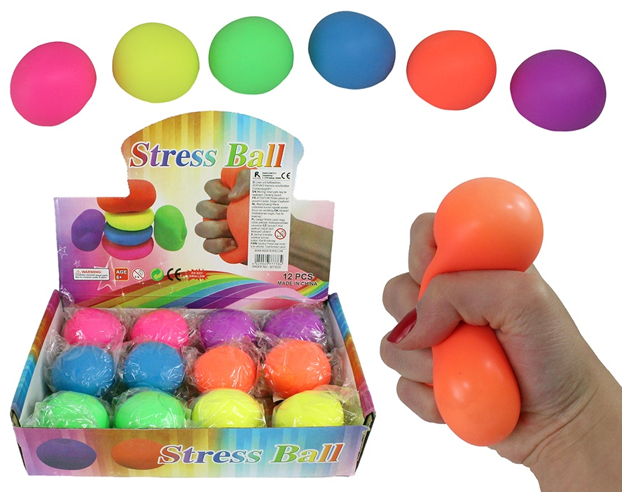 Knautschstressball 6-farbig sortiert ca 6x6cm
