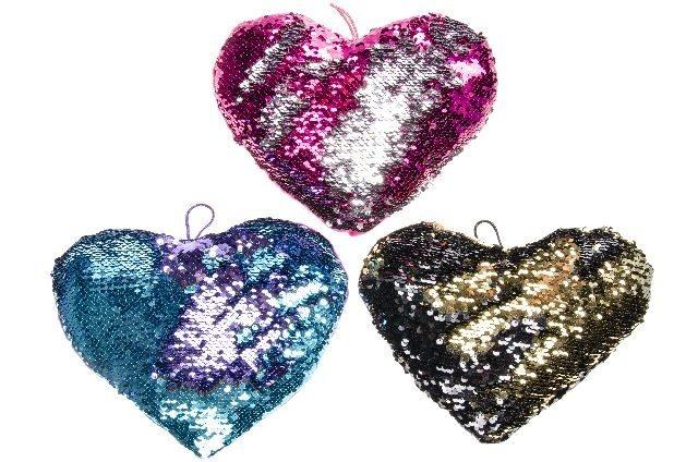 Herz mit Pailletten 3-fach sortiert ca 25x20cm