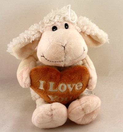 Schaf mit braunem Herz I LOVE YOU ca 34 cm