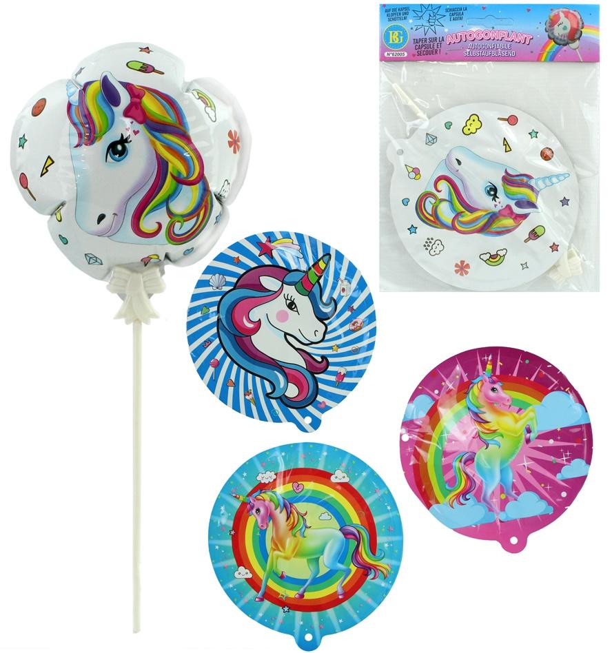 Folienballon selbstaufblasend Einhornmotiv 4 Farben sortiert