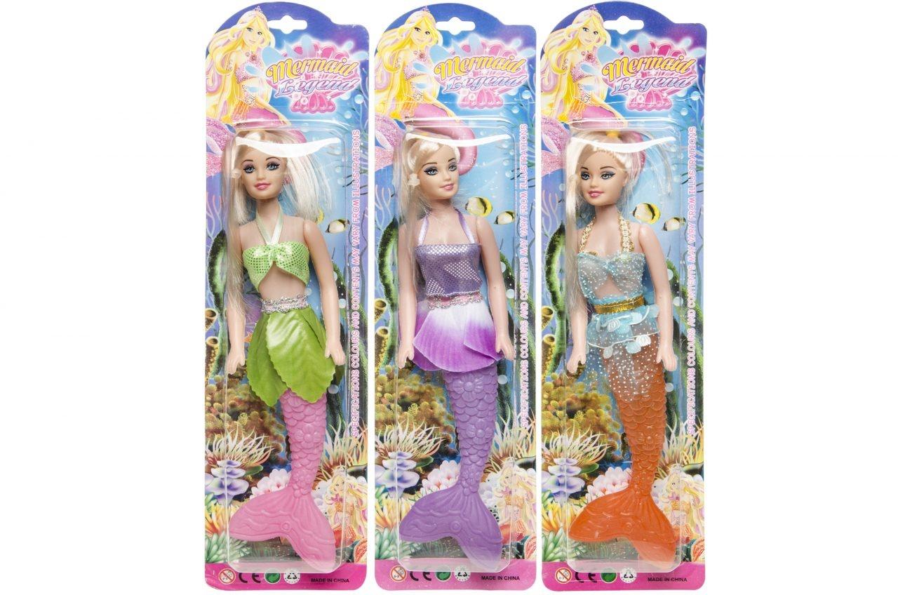 Puppe Meerjungfrau 3-fach sortiert - auf Karte ca 38x10x4cm
