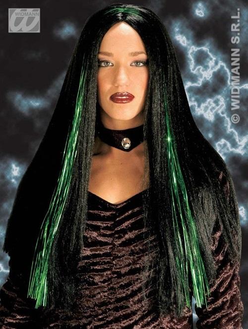 Perücke - Kassandra schwarz/grün
