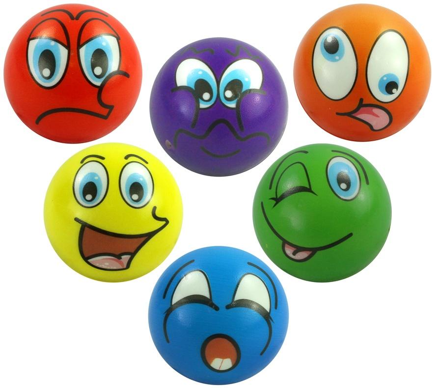 Knautschball mit Gesicht 6 fach sortiert Ø ca 6 cm