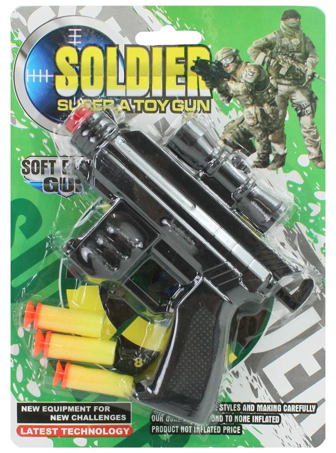 Pistole mit Softdarts auf Karte ca 21,5x15,5cm