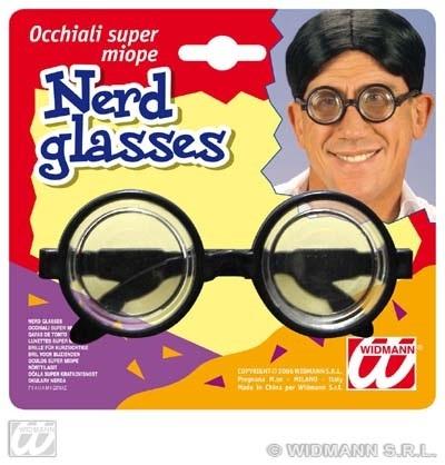 Gagbrille  mit dicken Gläsern auf Karte ca 16x15cm