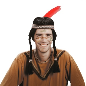 Perücke - Indianer mit Stirnband und Feder - schwarz