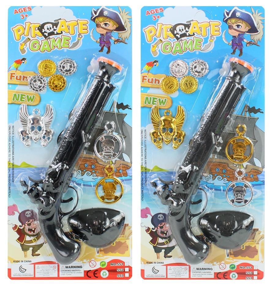 Piratenset 2-fach sortiert mit Pistole auf Karte ca 41x18cm