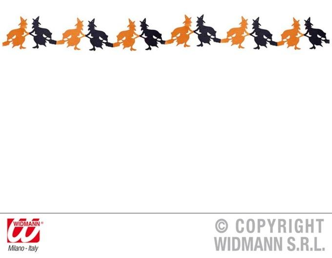 Girlande Hexe orange/schwarz ca 3 meter