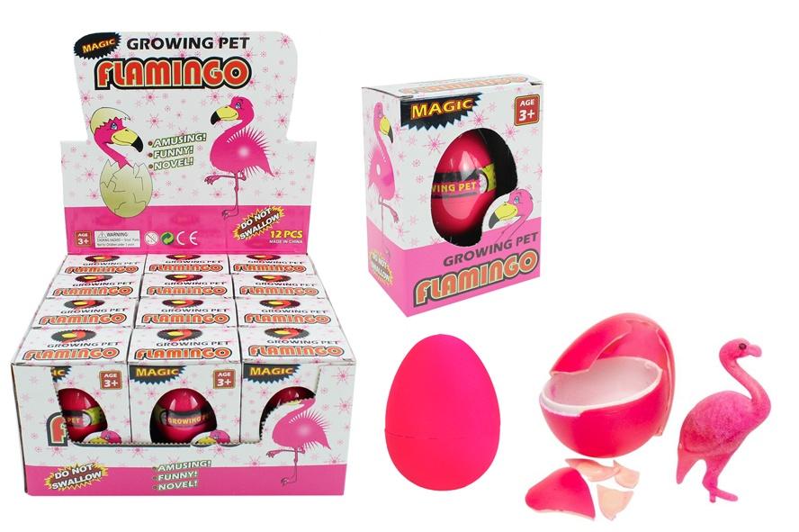 Flamingo Ei wachsend -  in Schachtel ca 10,5x7,5x5 cm