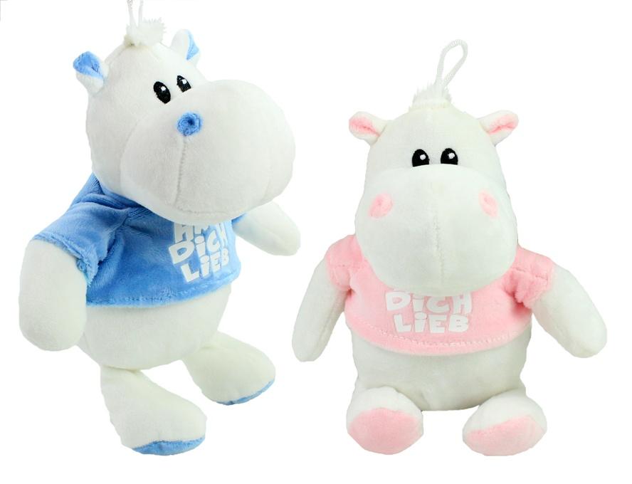Hippo mit T-Shirt 2-fach sortiert ca 23cm