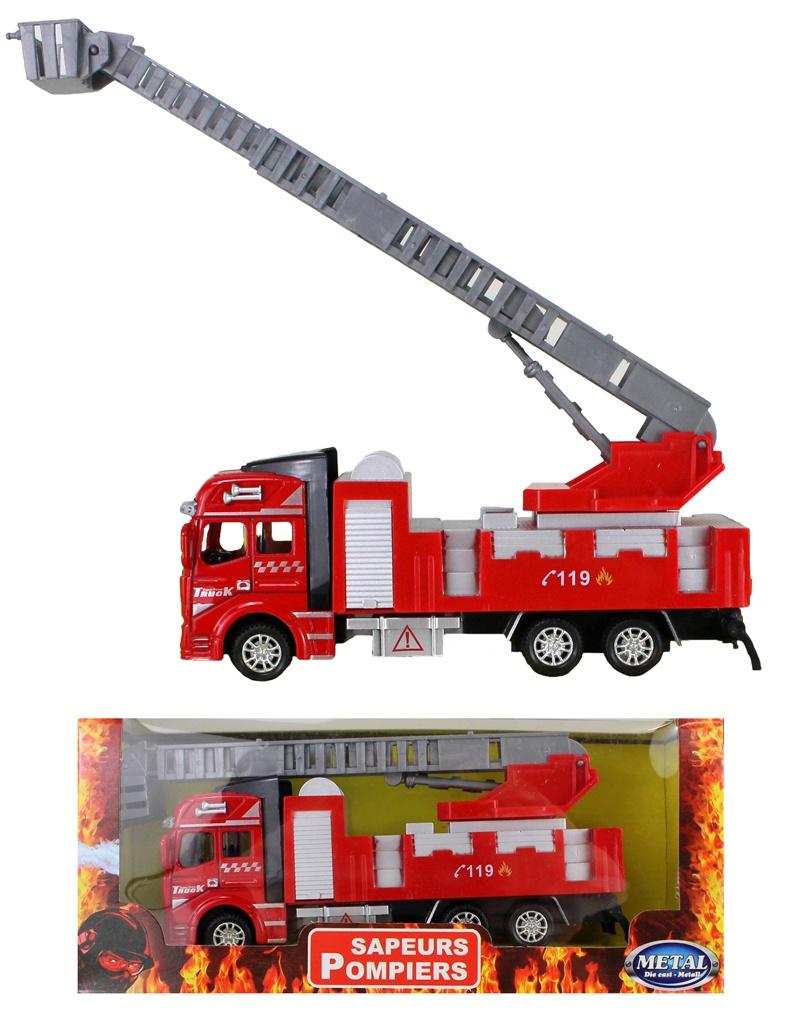 Feuerwehrauto Metall mit Rückzug ca 19 cm