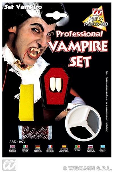 Vampir  Set - Schminke ,Zähne und Blut  auf Karte ca 15x21cm