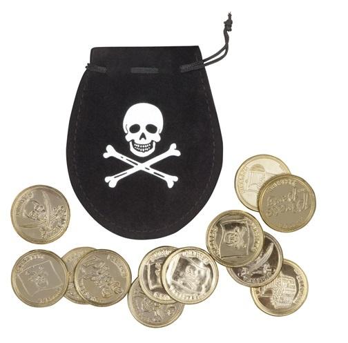 Piratensäckchen mit 12 goldenen Münzen - im Beutel ca21x12,5