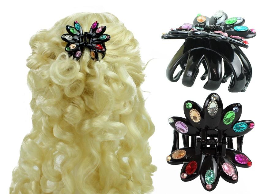Haarklammer Haarspange schwarz mit bunten Glitzersteinen