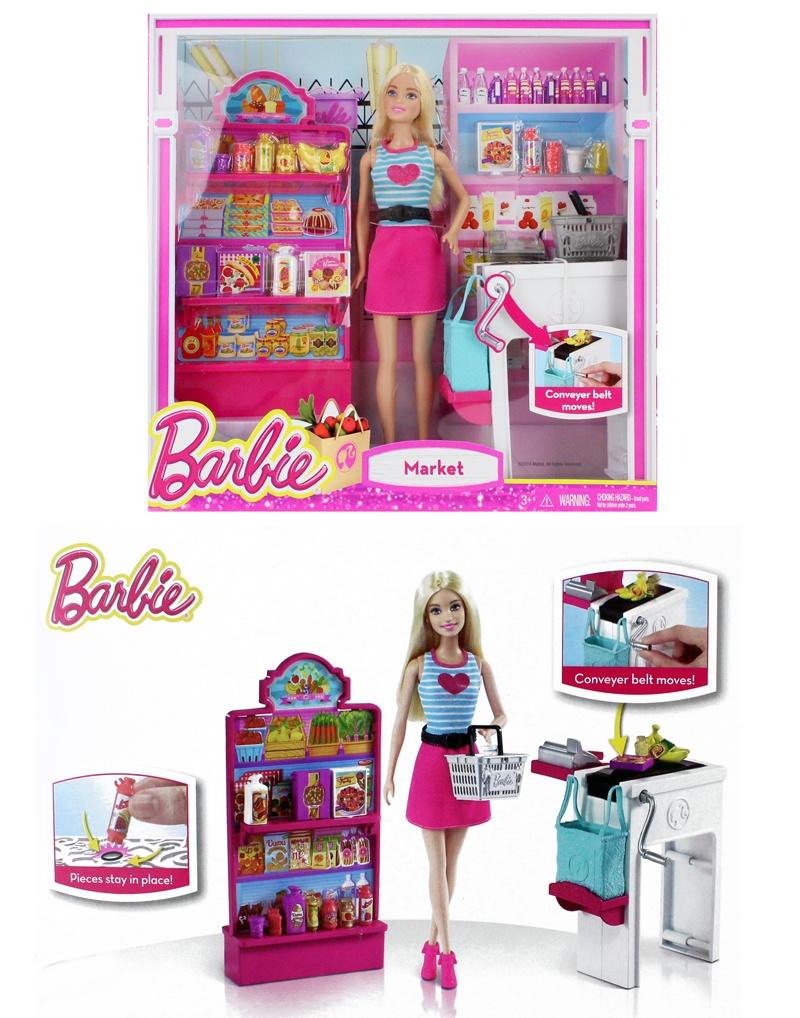 MATTEL BARBIE Supermarkt und Puppe - Box ca 33x33x9cm