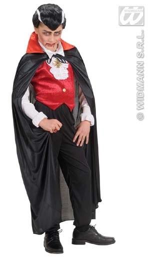 Kostüm - Cape schwarz mit schwarz/rotem Kragen