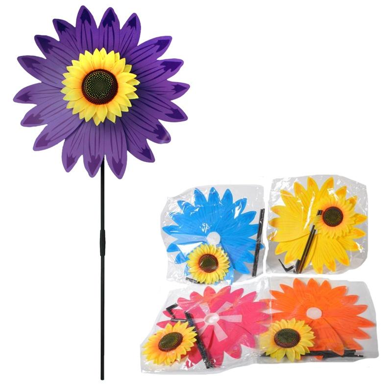 Windrad Sonnenblume 2-fach sortiert mit Stab - ca 75cm