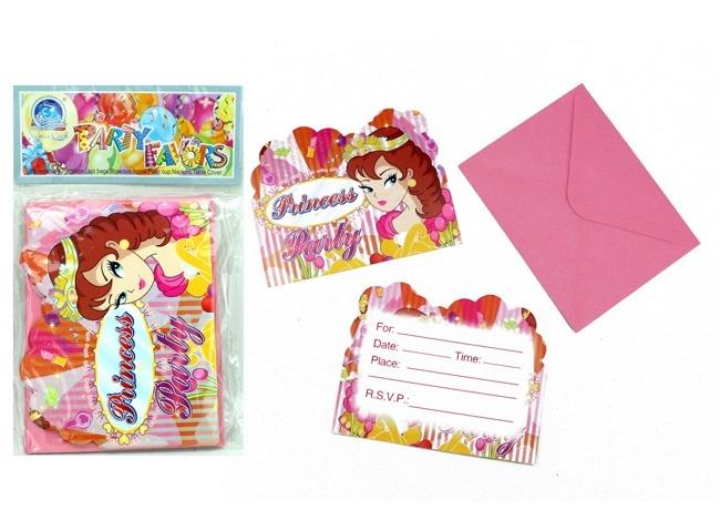 Einladungskarte Prinzessin Design 12 Stück im Beutel